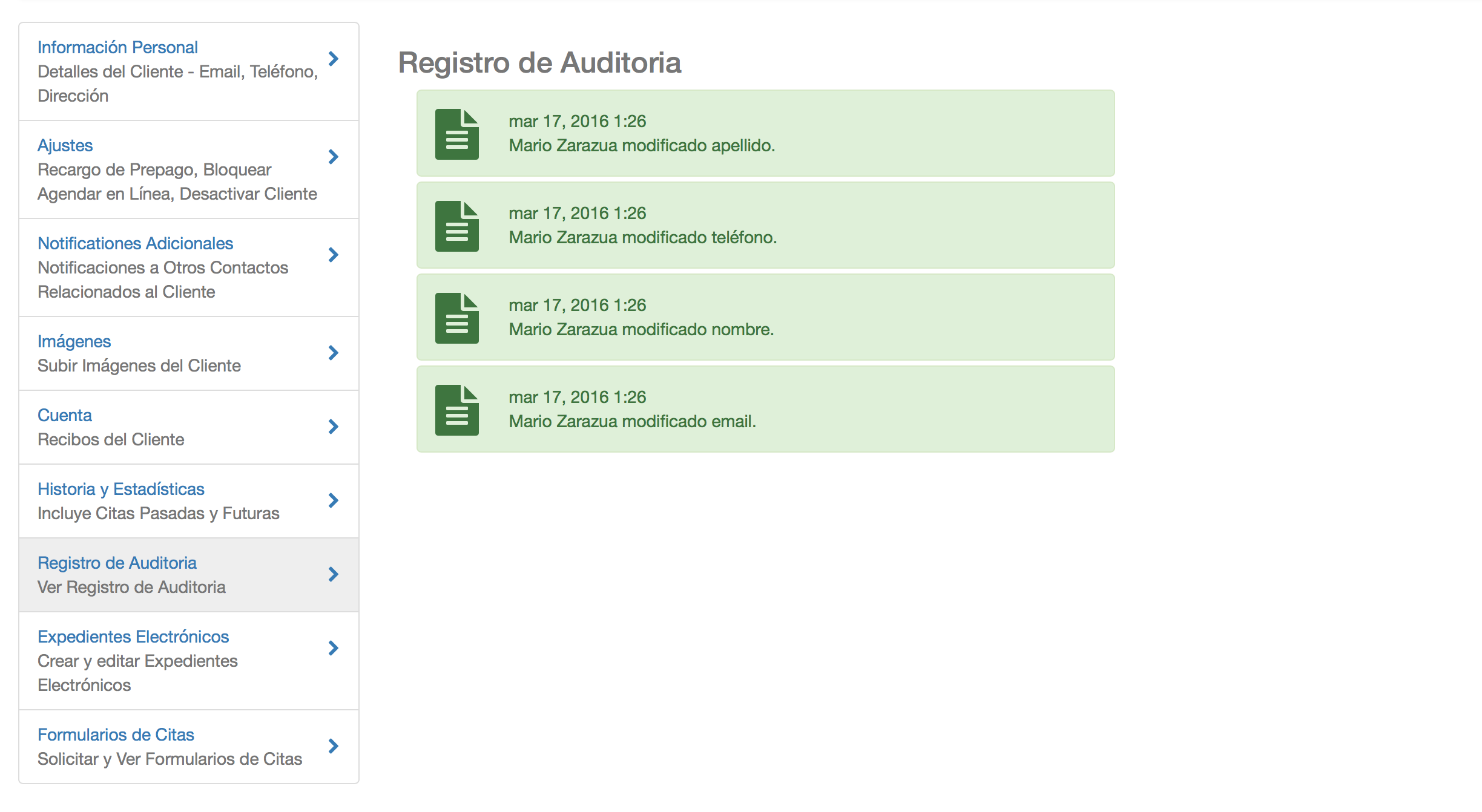 Registro de Auditoria